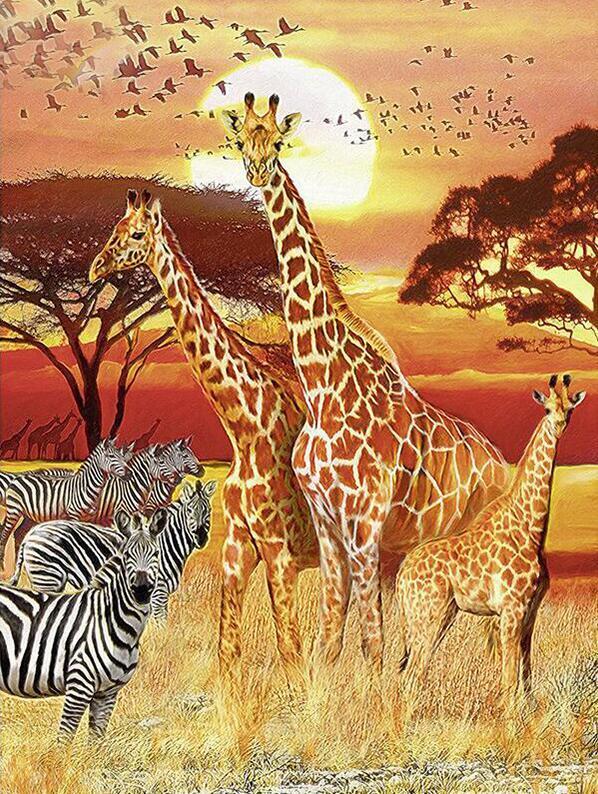 Diamond Painting Cross Stitch Home & Garden Diy Diamond Painting Animal Baby Animal Zebra Giraffe Diamond Embroidery Picture Of Rhinestone Mosaic Children Bedroom Decor
