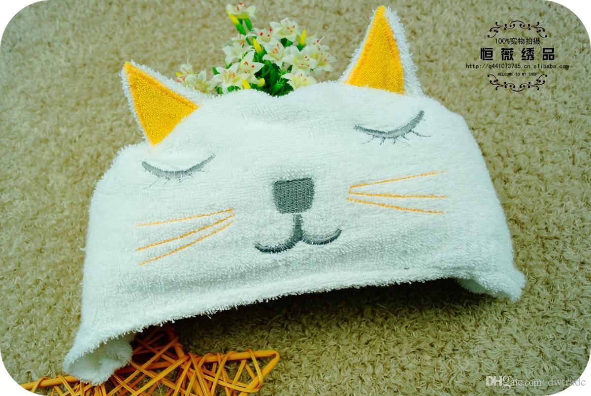 Heißer Baby-Terry-Karikatur-Löwe-Katze, die weißes mit Kapuze mit niedlichem Ohr-Hut-Badetuch kleine Kinder mit Decke 84 * 58cm modelliert