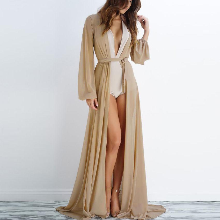 Sexy Women Summer Hot Tops Chiffon Cardigan Open Stitch Lace-up Drawstring Long Cover Up Beach Kaftan See Through Bathing Jacket
