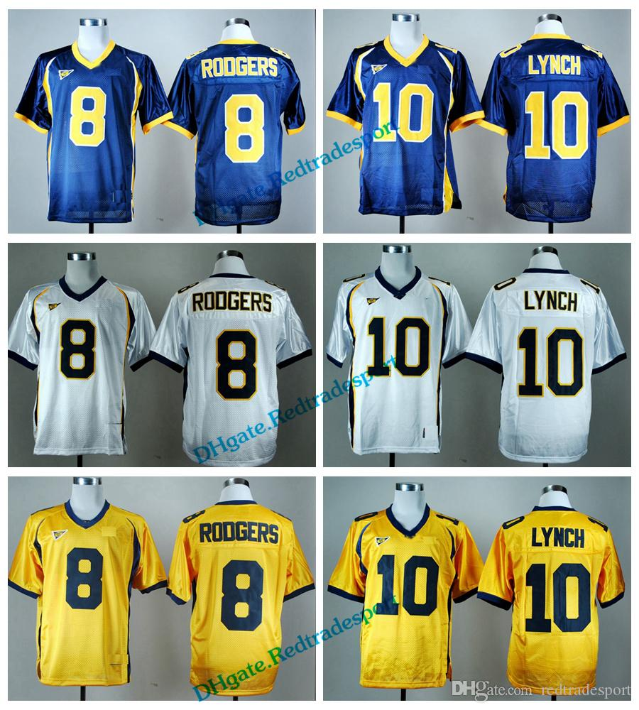 buy popular 3b8ec d5abc Vintage California Golden Bears College Football Jerseys Cheap Gold 8 Aaron  Rodgers 10 Marshawn Lynch University Football Shirts M-XXXL