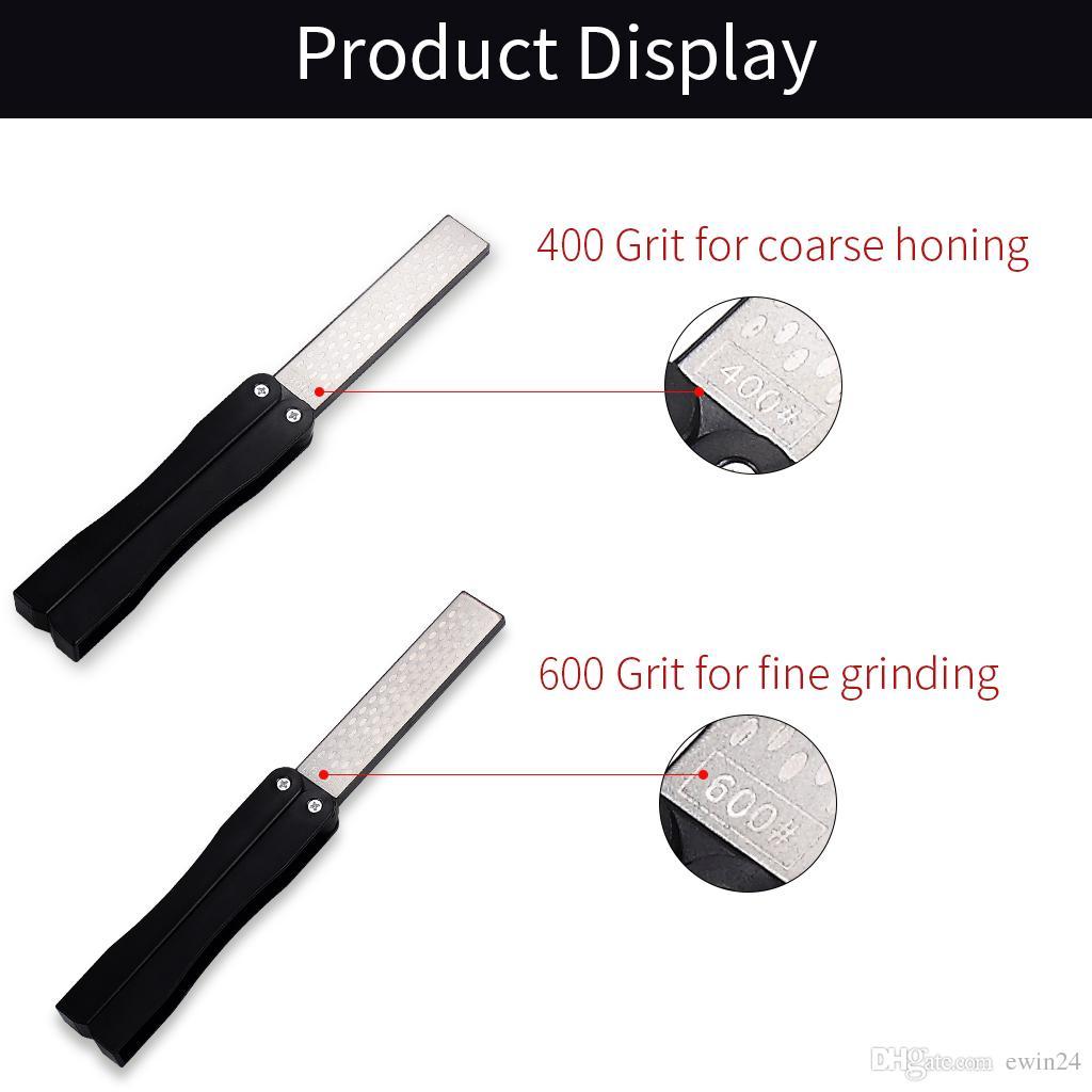 Точилка для ножей 400/600 Grit Pocket Точилка для ножей Diamond Складной двухсторонний Для Садовой Кухни Открытый Инструмент Черный Цвет