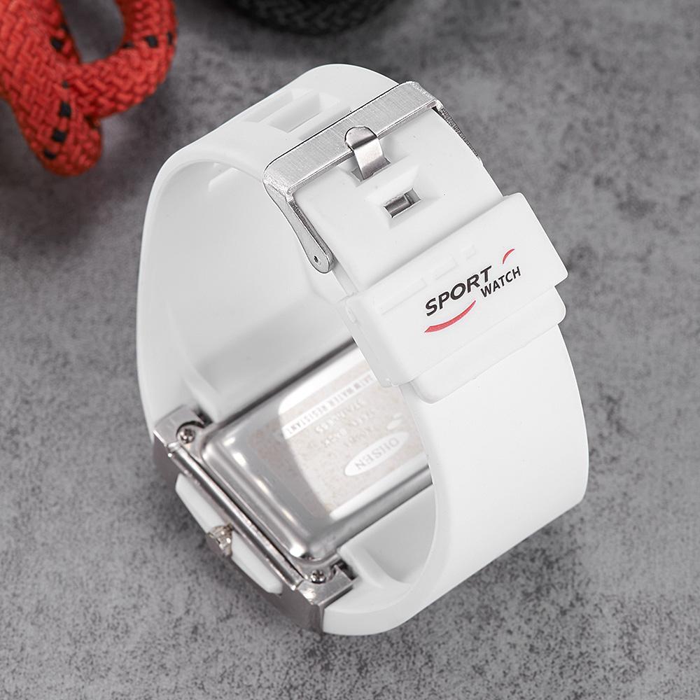 Orijinal OHSEN dijital spor saati erkek erkek su geçirmez silikon bant moda beyaz eli hediye saat saatler kol saatleri