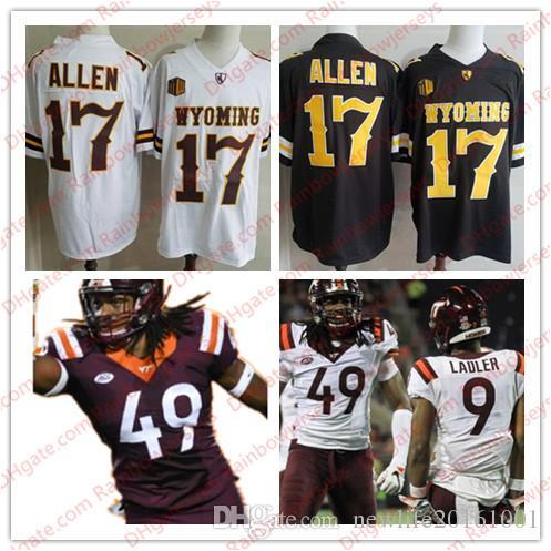 quality design b587d 25316 NCAA Wyoming Cowboys #17 Josh Allen Brown Virginia Tech Hokies #49 Tremaine  Edmunds Red White College Football Jerseys S-3XL