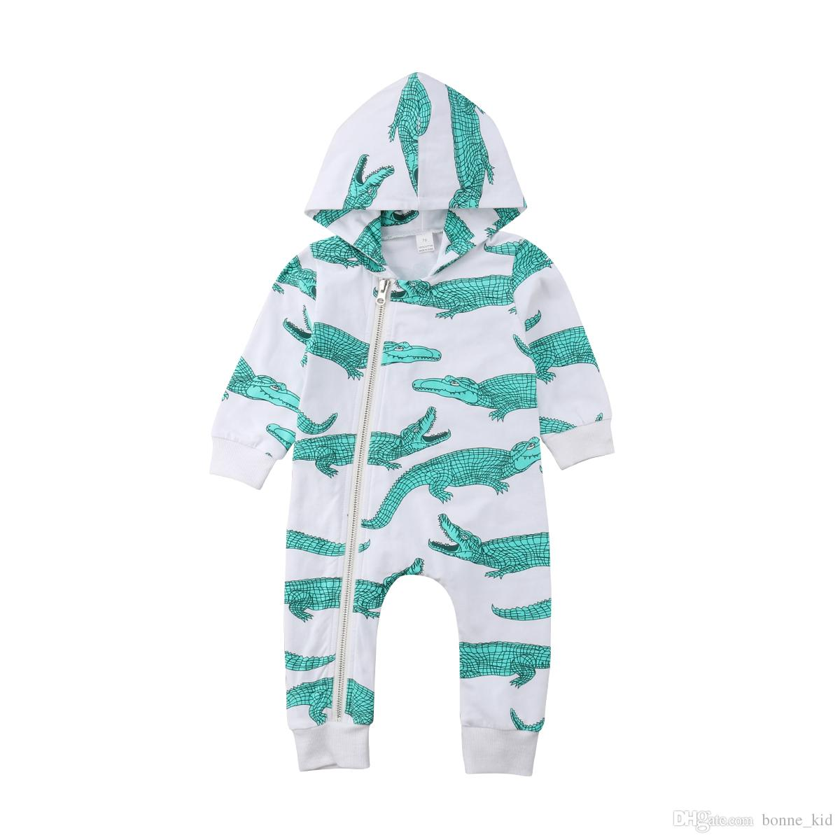 de340d846 2019 Newborn Baby Boy Animal Hooded Jumpsuit Crocodile Pajamas Long Sleeves  Autumn Spring Romper Playsuit Infant Baby Kid Clothing Rompers 0 24M From  ...