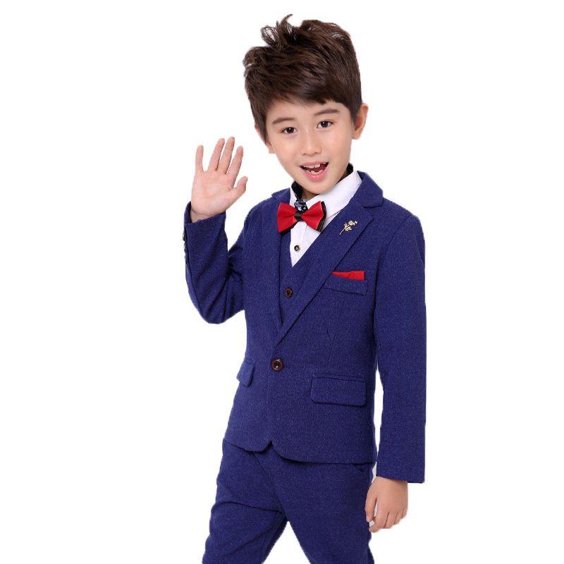 Flowers Boys Formal School Suit Kids Wedding Party Dress Blazer Vest
