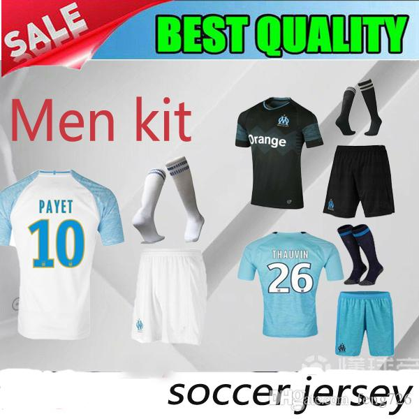 Adult Kits 2018 Olympique De Marseille Soccer Jersey Payet 10 ... 6508c0792