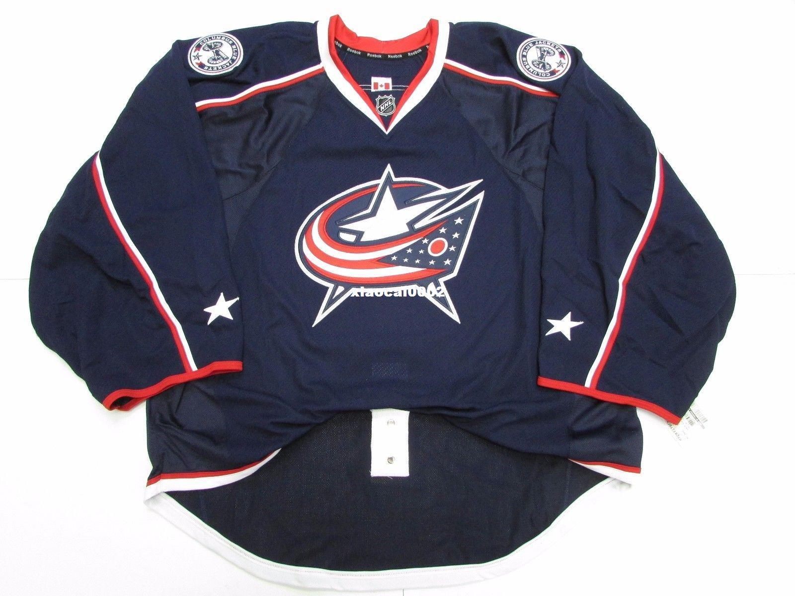 new style f9f26 4cec3 Cheap Custom COLUMBUS BLUE JACKETS AUTHENTIC NEW HOME EDGE JERSEY GOALIE  CUT 60 Mens Stitched Personalized hockey Jerseys