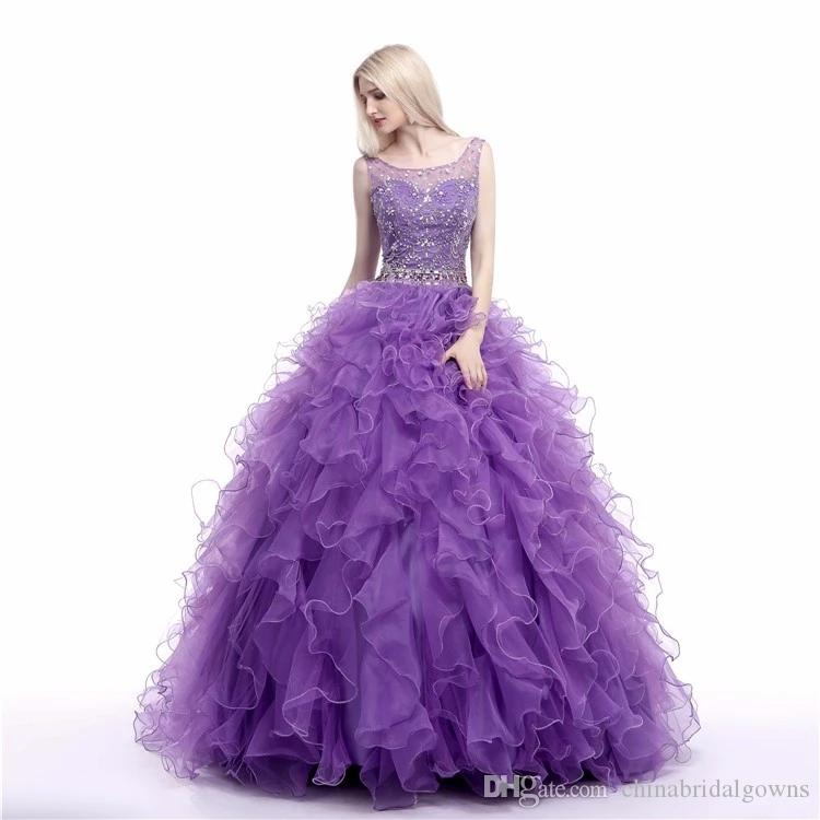 Purple Lavender Ball Gown Prom Dresses Quinceanera Gowns 2018 Beads Ruffles Skirt Ladies Party Dress For 16 Sweet Girls
