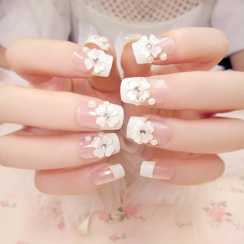 Bridge French Pink White Flower Nail Tips False Nail Gel Art D22 ...