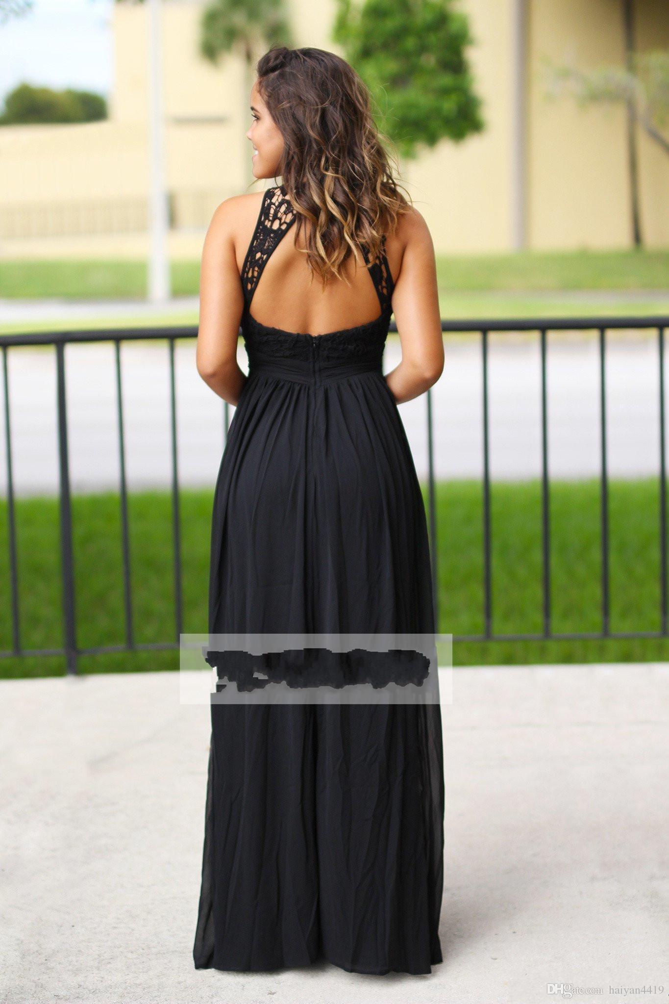 Sexy Chiffon nero lungo abiti da sposa 2018 Halter Neck economici abiti da damigella d'onore Paese Paese damigella d'onore