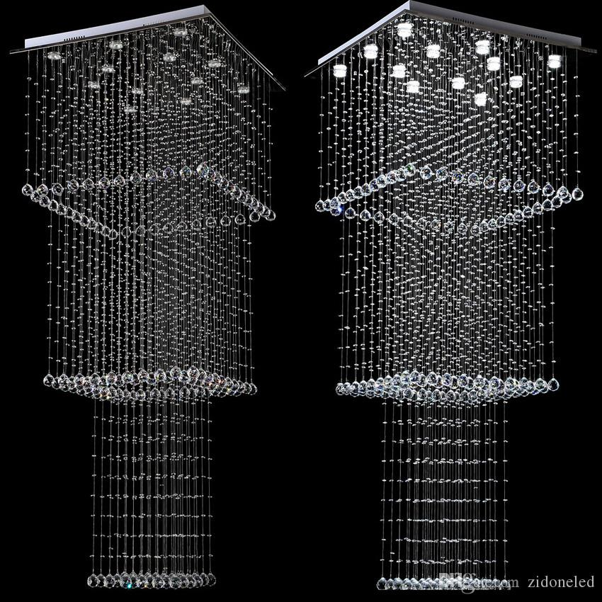 Modern Crystal Chandelier Lighting Stair Hanging Light Fixture Square Design LED Hallway Indoor Lighting Luminaire Suspension