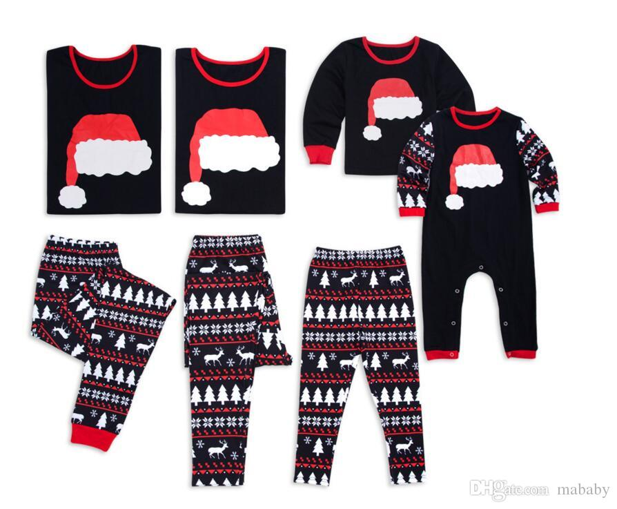 2018 amazon ebay wish autumn and winter new home service pajamas explosion suit set christmas hat parent child wear strange family photos mother daughter