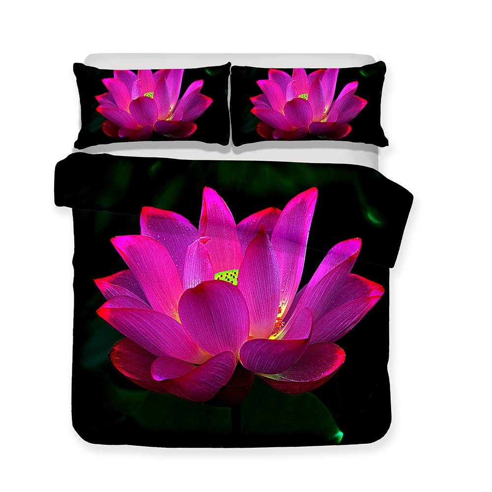 Luxury Bedding Set 3d Lotus Print All Size Green Red Art Print Bed