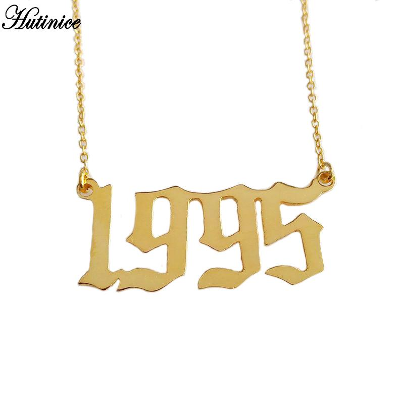 10f825bdb 2019 Personalized Old English Number Necklaces Women Custom Jewelry Year  1991 1992 1993 1994 1995 1996 1997 1998 1999 Birthday Gift From  Pulchritudinous, ...