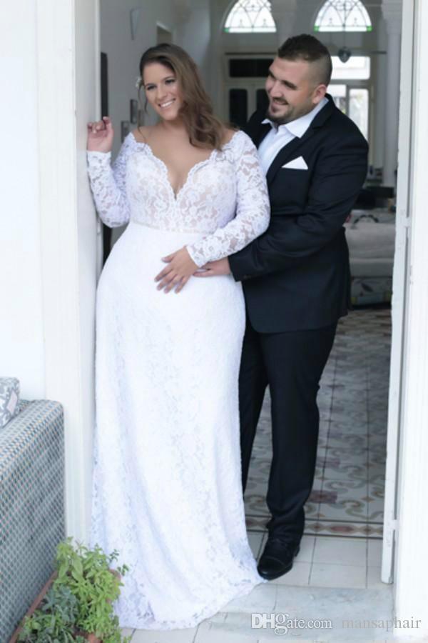 Günstige Plus Size Brautkleider Tiefem V-Ausschnitt Mantel Vintage Long Sleeves Brautkleider Brautkleider Sweep Zug Spring Summer Wear Gown