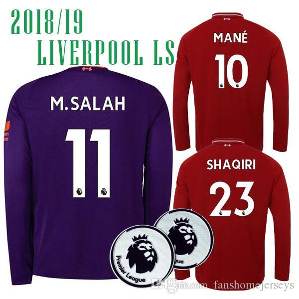 b56c621eb ... shopping wholesale best use 18 19 liverpooling m.salah 11 away long  sleeve soccer jerseys