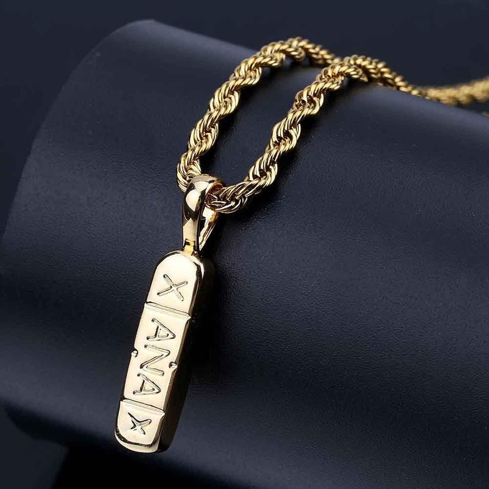 Hip Hop couleur or plaqué cuivre verticale Pill ID barre carrée Pendentif avec 24 pouces chaîne corde Femmes Filles Party Bijoux