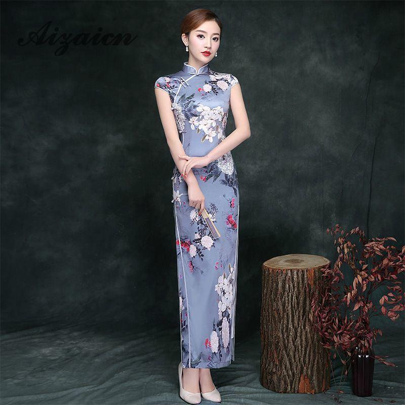 4713d444d Vintage Cheongsam Long Qipao Printing Chinese Traditional Silk Dress ...