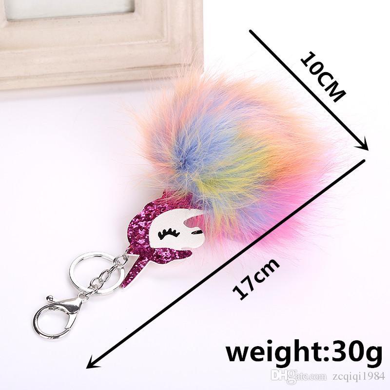 Popular Pegasus KeyChain bolso llaveros para mujeres bola de piel animal llavero mezcla colores de calidad superior