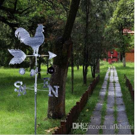 120cm Vintage Rooster Weather Vane Metal Iron Velocità del vento Spinner Indicatore direzione Garden Ornament Decoration Patio Yard