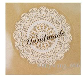 """""""Hand made""""kraft paper seal stickers for handmade products diy bakery packsge label Adhesive Sticker"""