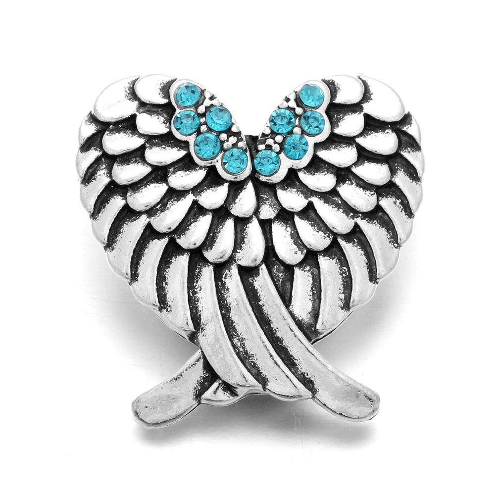 New Crystal Angel Wings Snap Jewelry Rhinestone Snap Fit 18mm Snap Buttons Charms Bracelet