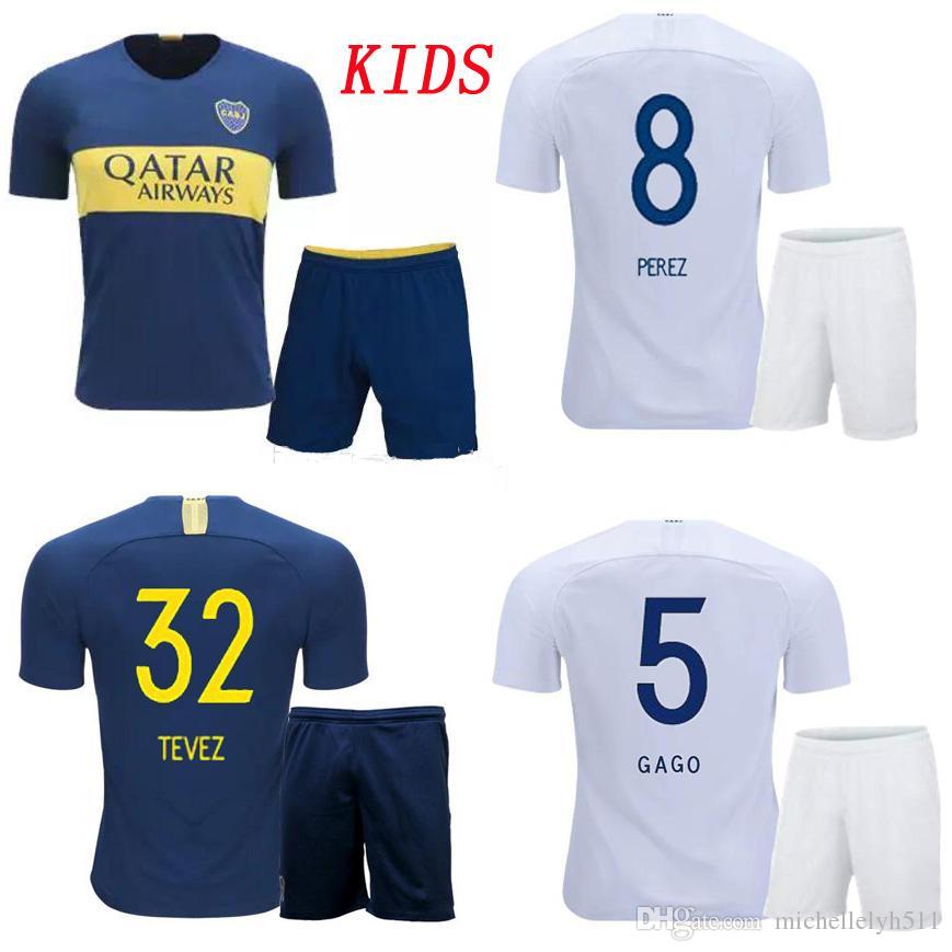 0e0094db7 2019 18 19 Kids Boca Juniors Soccer Jerseys Shorts Boys Boca Soccer Kits  2018 19 OSVALDO CARLITOS PEREZ P GAGO Football Shirt Children Sport Wear  From ...