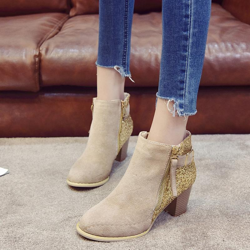 0f6c85ee0 2018 Zipper Autumn Shoes Women Fashion Boots Ladies Thick High Heel Ankle  Boots Rhinestone Shoes Mujer Zapatos Pointed Toe Online with $32.84/Piece  on ...