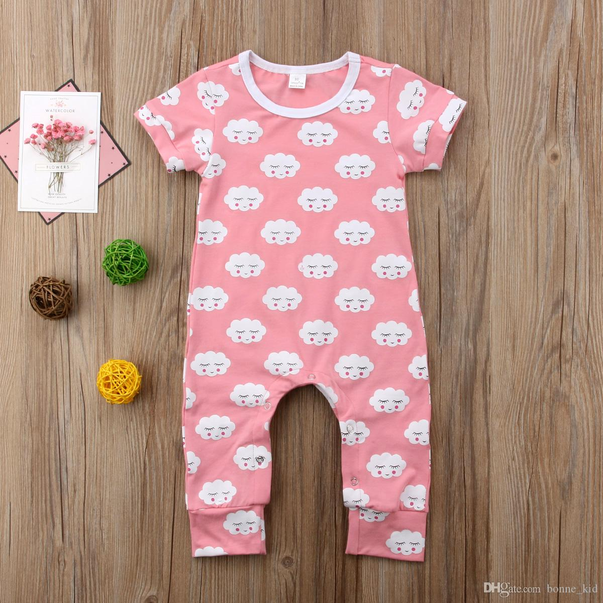 8a758f04e1a2 2019 Geometric Cloud Pink Romper Newborn Infant Baby Girls Short ...