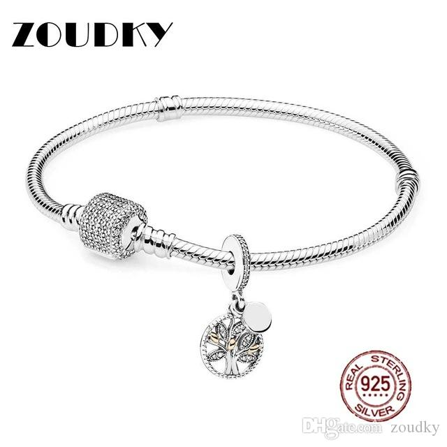 ZOUDKY Book Di 100% 925 Sterling Silver Family Heritage Bracelet Set fit DIY Original charm Bracelets jewelry A set of prices