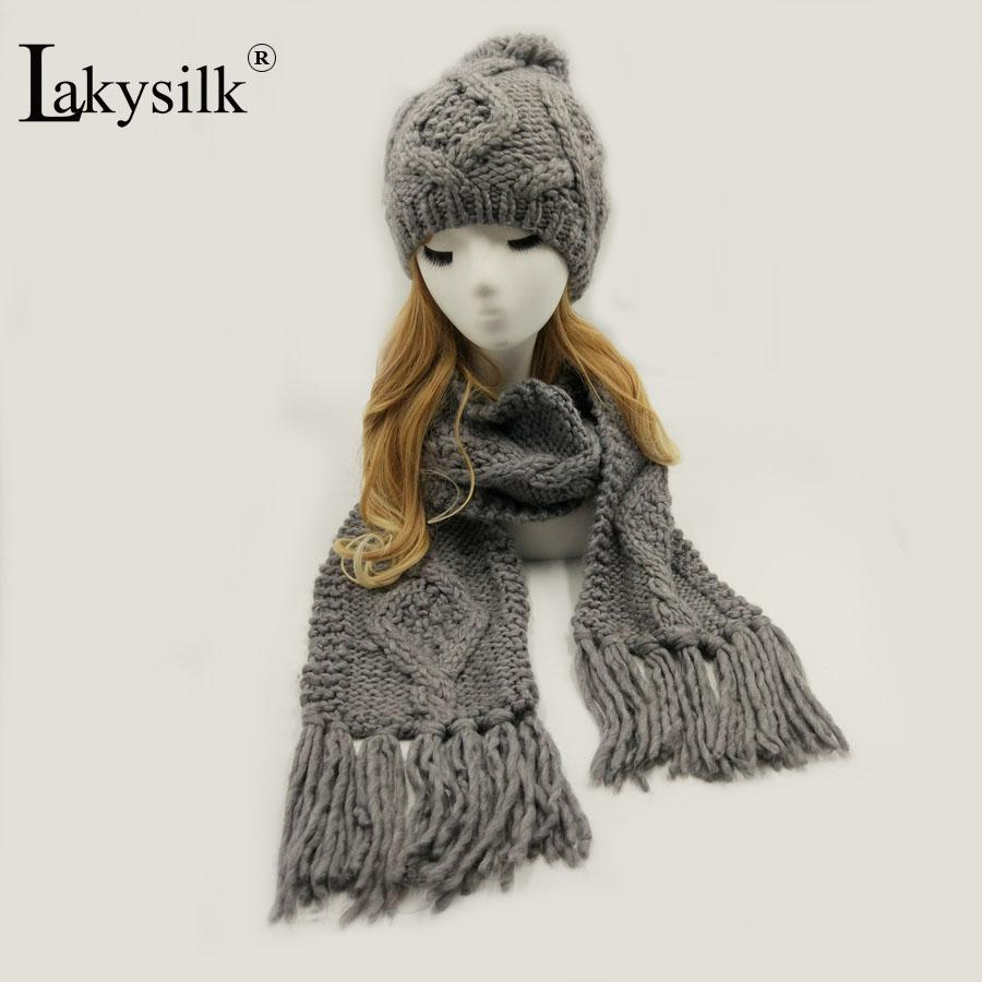 01dece0ceca 2019 LakysilkHand Made Winter Scarf With Hat Set Women Ladies Crochet  Skullies Beanies Girls Knitted Tassel Solid Long Scarf Hijabs From  Haoyunduo
