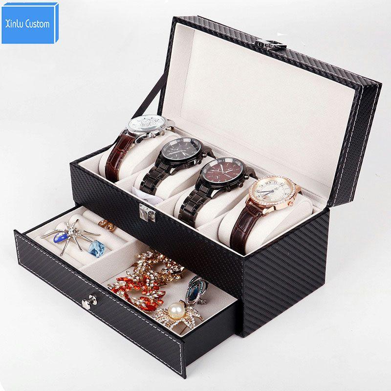 Watch Jewelry Box Black Leather Watch Display 2 Layer Box 4 Slot Organizer Lockable Case Drawer Wedding Birthday Gift Drop Send
