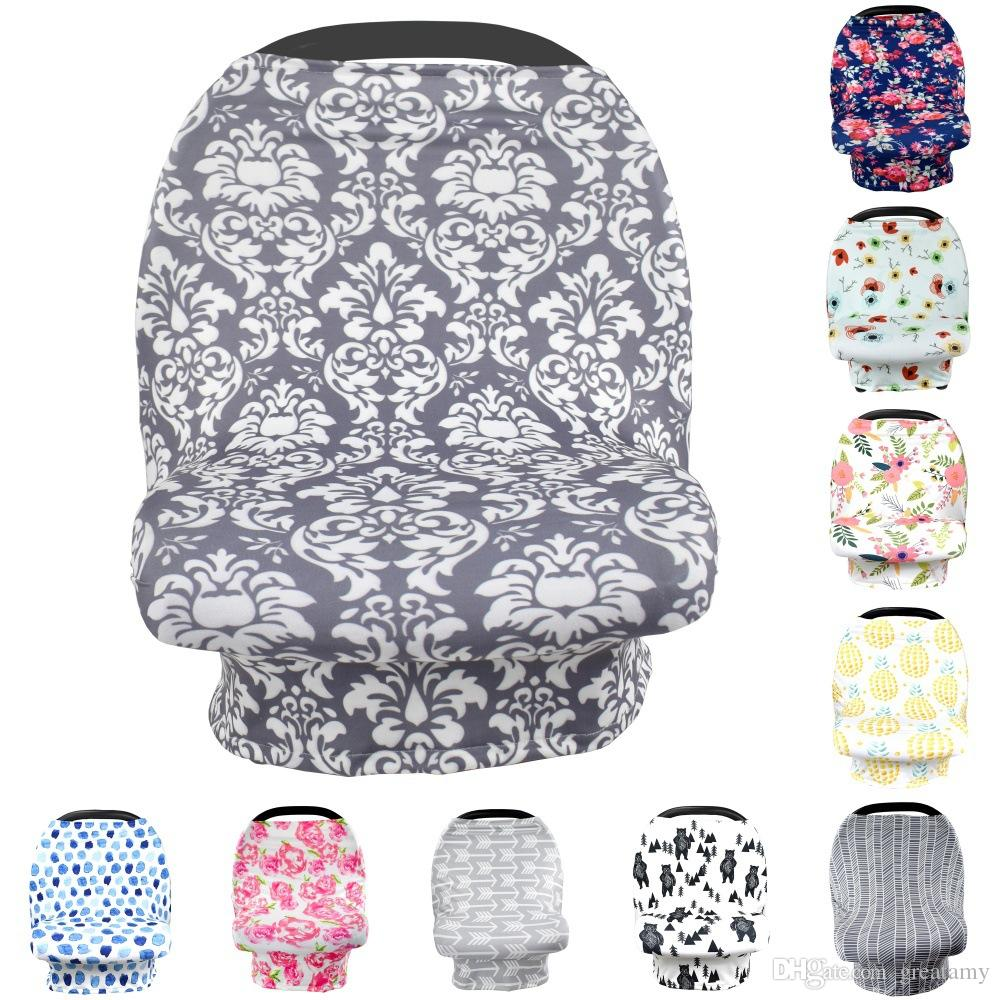 12 colors Baby Car Seat Cover Canopy Pineapple Nursing Cover Flower Stretchy Infinity Scarf Breastfeeding Shopping Cart Cover