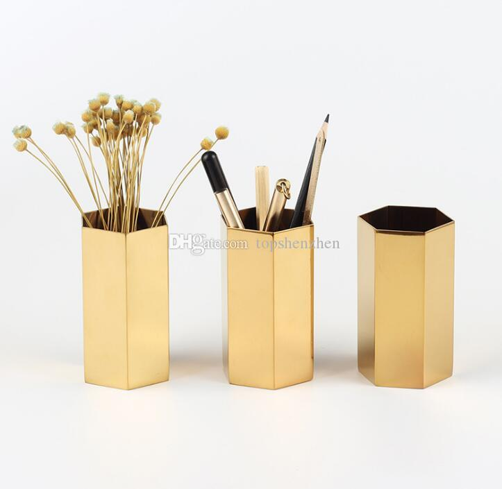 Metal Pencil Cup Nordic style Hexagon brass gold stainless steel metal vase Gold pen holder storage tube storage container desk ornament