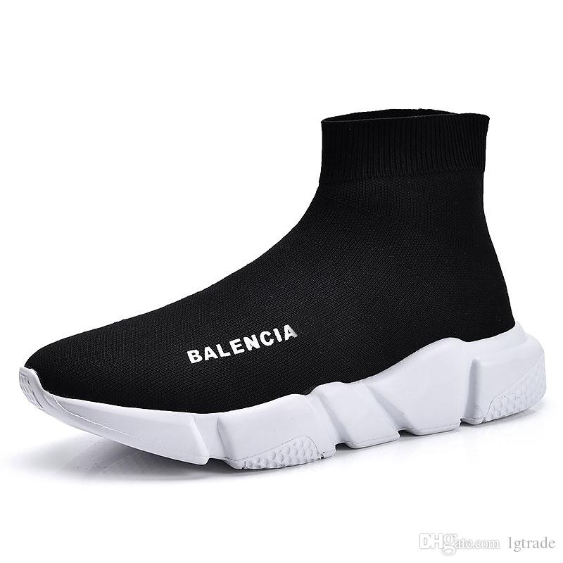 503fa6bd419620 2019 High Quality Cheap Original 2018 Women Men Sock Running Shoes Black  White Red Speed Trainer Sports Sneakers Top Boots Casual Shoe Mens From  Lgtrade