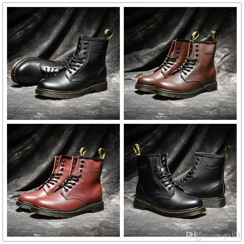 017dab46cc69a 2018 High Quality UK Classic 1460 Martens Boots Ankle Winter Snow Boots  Black Brown Wine Red Women Mens Fashion Designer Shoes Size 35 44 Low Boots  Cheap ...