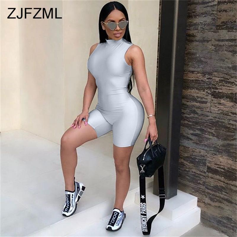 ba22079ed34 2019 ZJFZML Sexy Bodysuit Women Sleeveless Playsuit Back Zipper Bodycon  Jumpsuit Short Rompers Womens Jumpsuit Party Club Body Femme From Beltloop