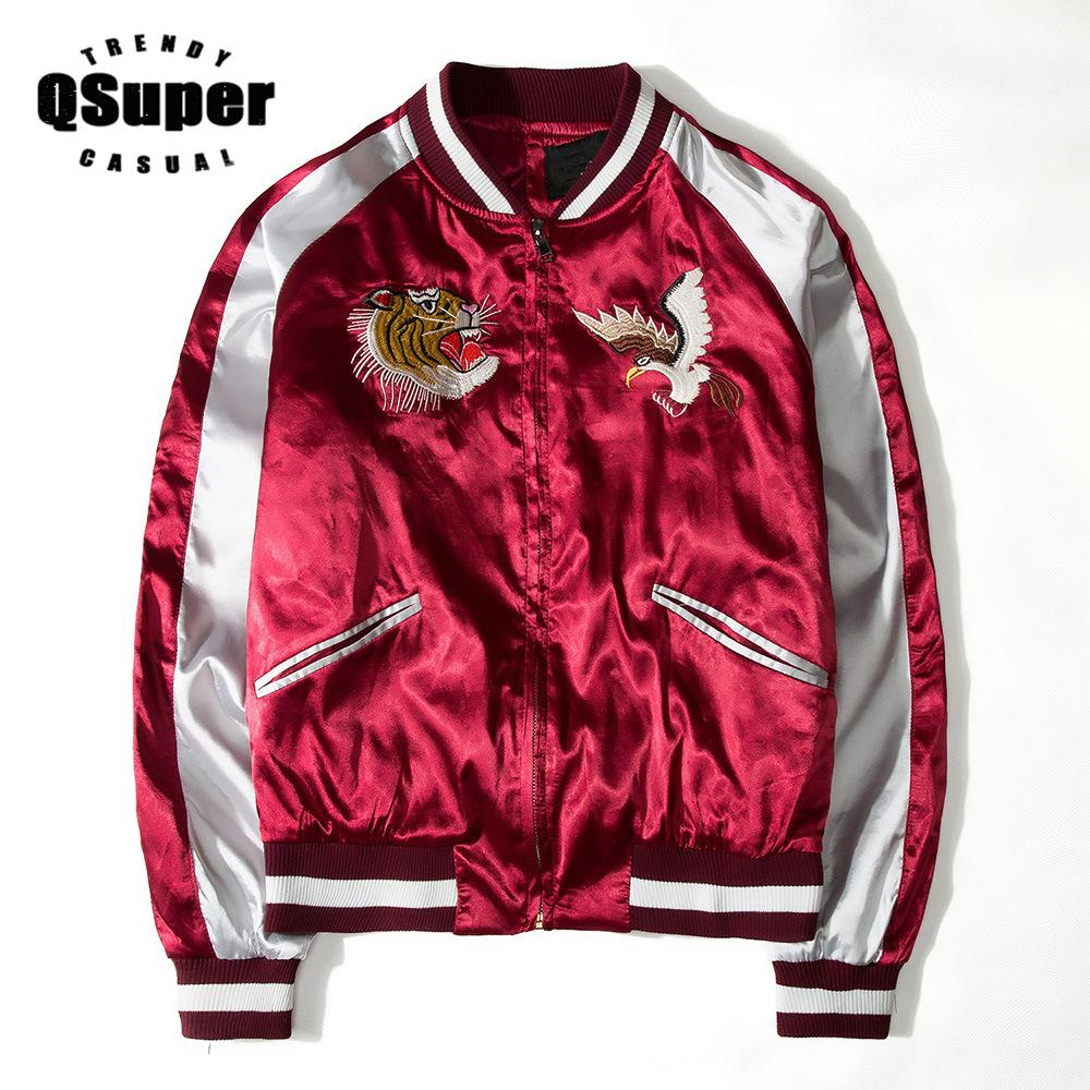 QSuper Luxury Eagel&Tiger Embroidery Polyester Jacket Men Fashion Slim Fit Motorcycle Jacket Lover Hip Hop Baseball