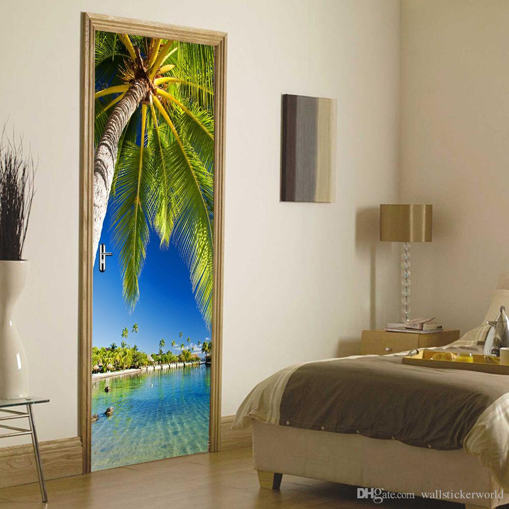 palm tree by the lake wall sticker DIY mural living room home decor poster vinyl waterproof door sticker decal