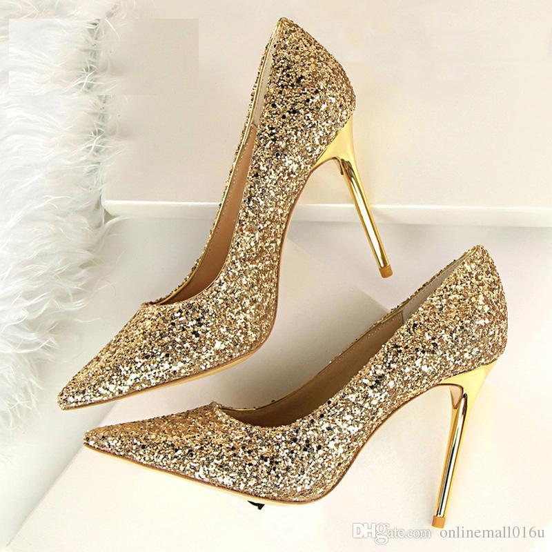 reputable site 1d217 31d9f Frauen Pumps Bling Fashion High Heels Sexy Damen Schuhe Gold Damen Schuhe  Damen High Heels Sommer Hochzeitsschuhe