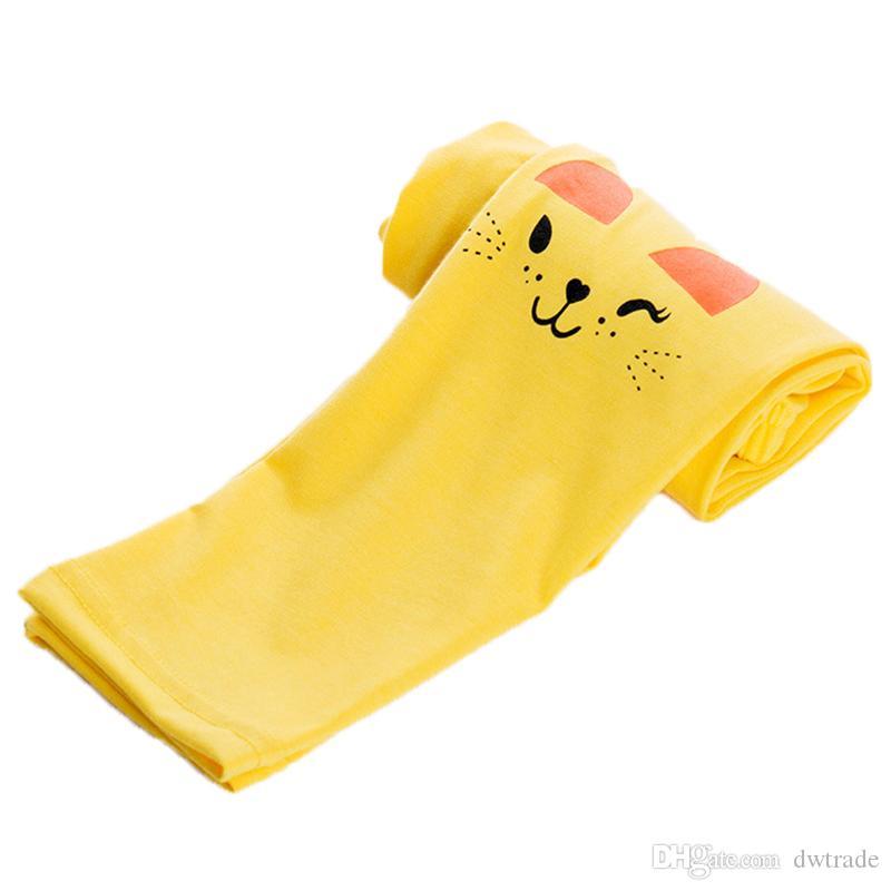 여름 소녀 슬림 레깅스 소녀 사랑스러운 고양이 인쇄 긴 바지 어린이 탄성 바지 가을 발목 길이 요가 바지 패션 4-8T 어린이 타이츠