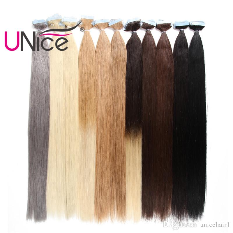 Unice Hair 50g Remy Glue Skin Weft Tape In 100 Brazilian Human Hair