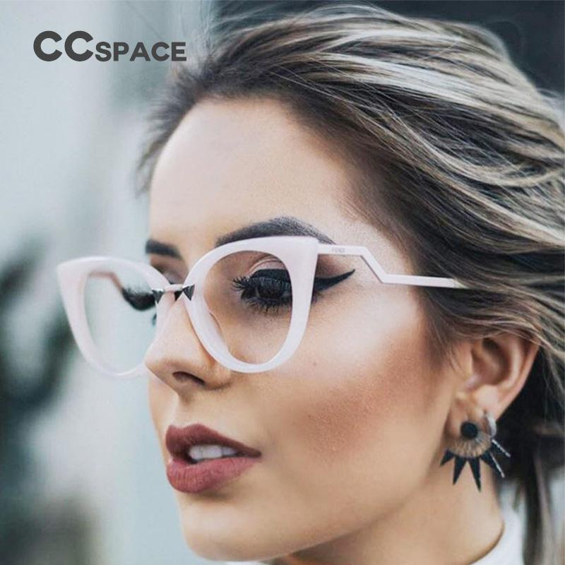 38fae6bde799 2019 Sexy Lady Cat Eye Glasses Frames Women Red White CCSPACE 45045 Brand Designer  Optical EyeGlasses Metal Temple Fashion Eyewear From Value111
