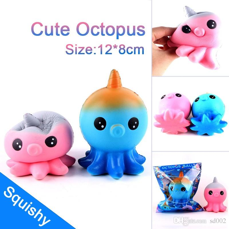 Cute Octopus Squishy Soft PU Cuttlefish Squeeze Squishies Jumbo Scented Easy To Carry Toy Blue Pink 12 5sq BB