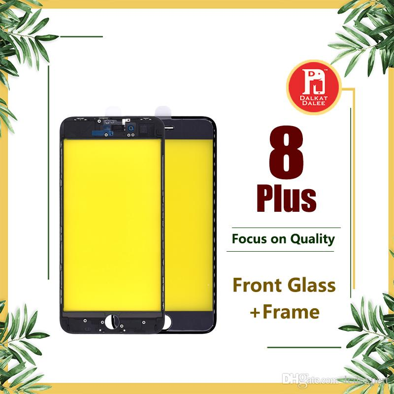 For iPhone 8 Plus Front Touch Screen Panel Outer Glass Lens + Cold Glue Middle Frame Bezel Assembly Replacement Parts For iphone 8P