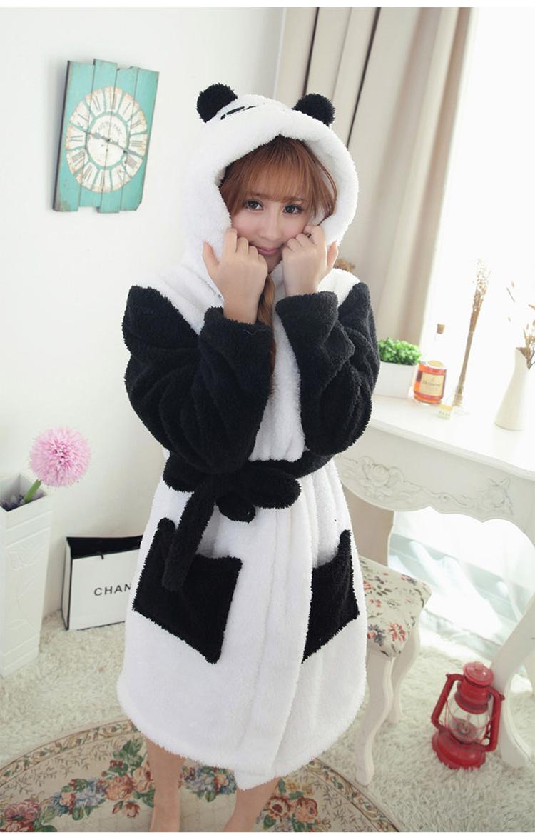 Couple Nightgown Winter Bathrobe Panda Cartoon Unisex Pajama Coral Fleece Hoodie Animal Onesies Robes Sleepwear For Women/Men