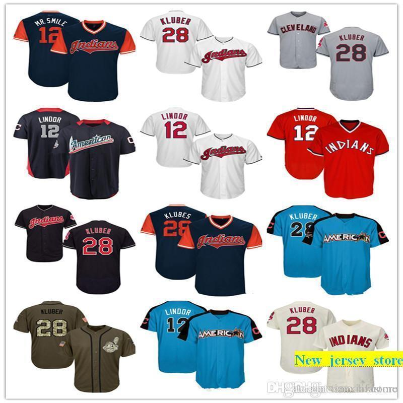 sports shoes 012c3 e635c Men Women Youth Indians Jersey 12 Lindor 28 Kluber Jersey White Gray Grey  Navy Blue Red Cream Green Salute to Service Players Weekend