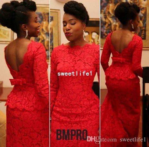 2019 Aso Ebi Style Red Mermaid Evening Dresses Bateau Neck Long Sleeve Sexy Backless Court Train Africa Formal Occasion Prom Dresses