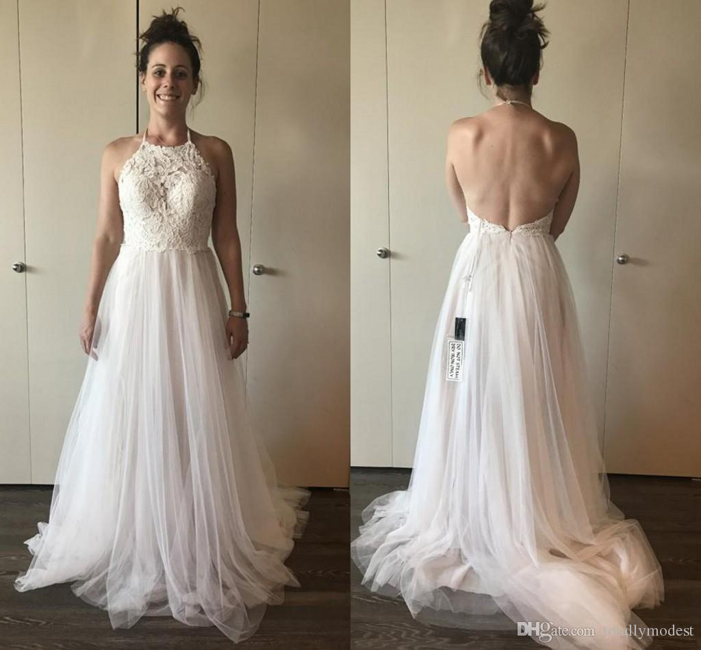 Discount 2018 Lace Tulle A Line Boho Wedding Dresses Halter Open Back Sexy  Informal Beach Bohemian Bridal Gowns Couture Custom Made Sale Summer Wedding  ... 935eb1a98229