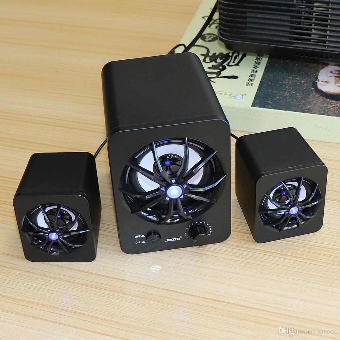 SADA LED 2.1 Subwoofer 3 Channel Speaker USB بدعم نشط مزيج الوسائط المتعددة للكمبيوتر المكتبي المحمول الكمبيوتر المحمول MP3 PMP_71A